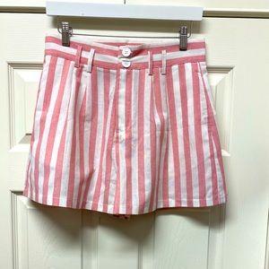 SHEIN Side Pockets Striped High Waisted Shorts